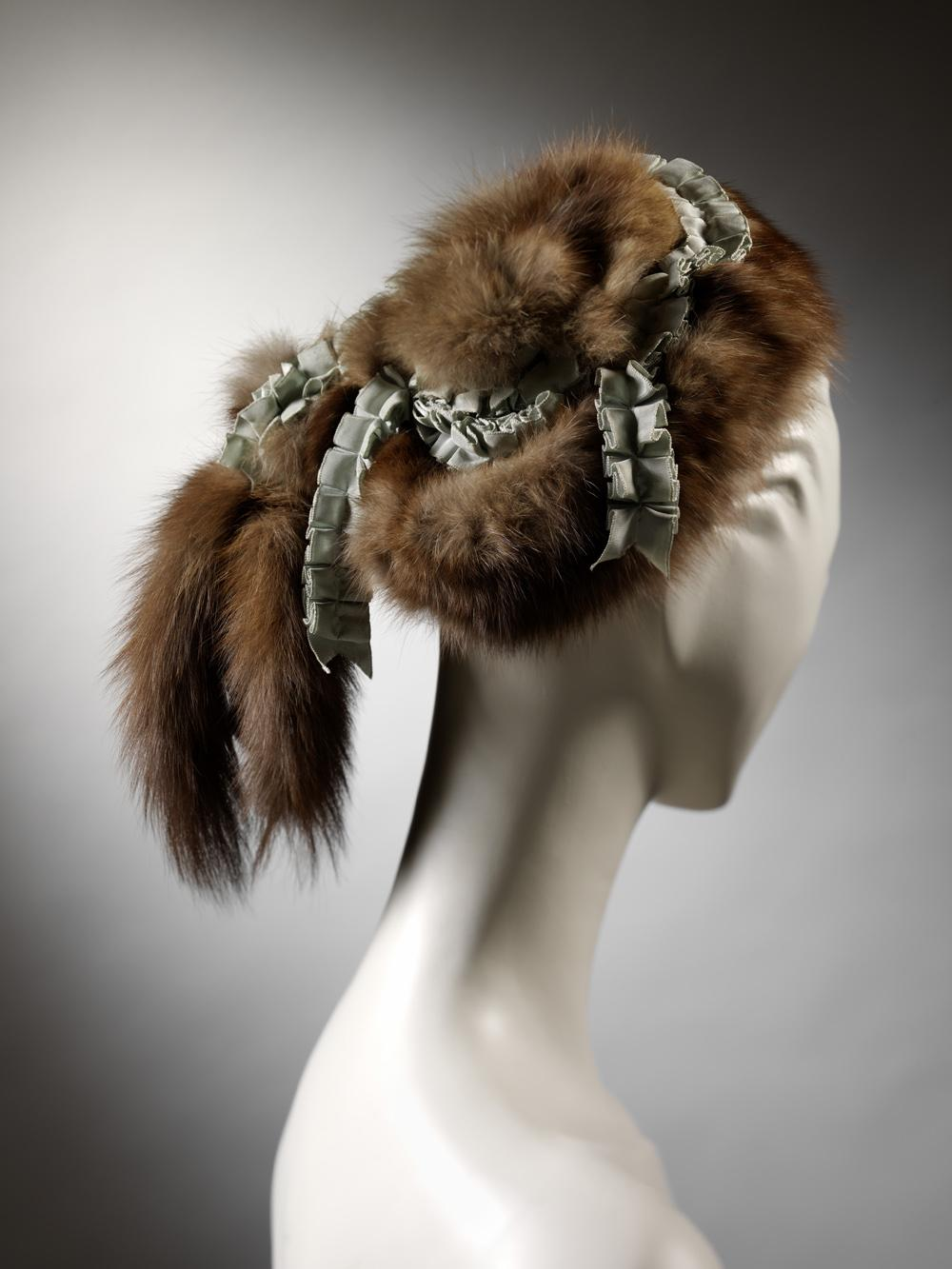 -              Caroline Reboux hat. Pine marten fur and grosgrain ribbon. Paris, c. 1893-7.