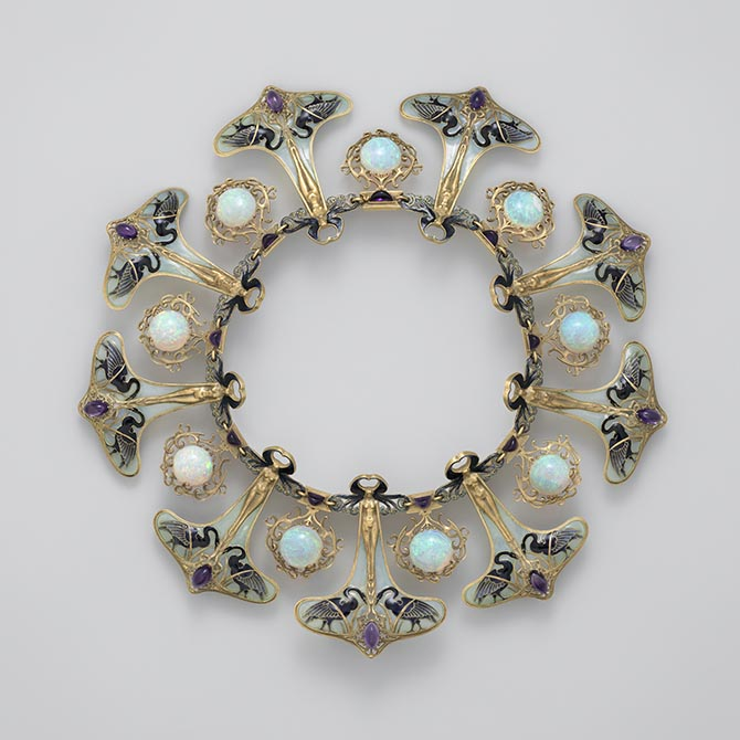 Art Nouveau enamel, opal and amethyst necklace - Rene Lalique circa 1900  Courtesy of the Metropolitan Museum of Art