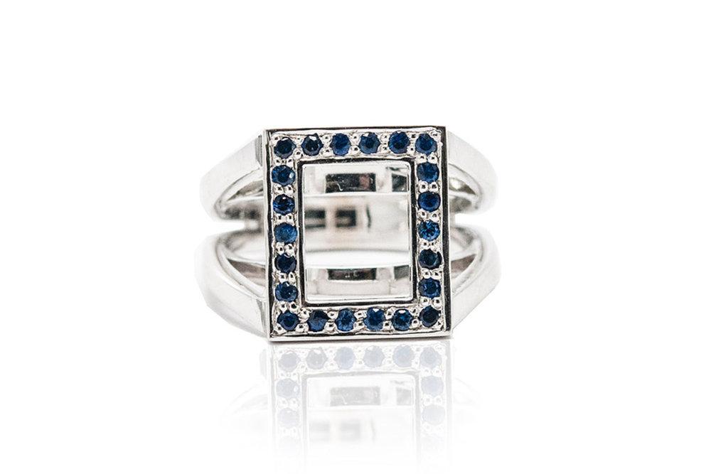 3.Sapphire & 18K White Gold Rectangle Frame Ring.jpg