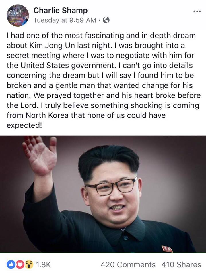 The picture and post was released on the Prophet of God's Facebook on Tuesday March 6, 2018 at 9:59 am CST