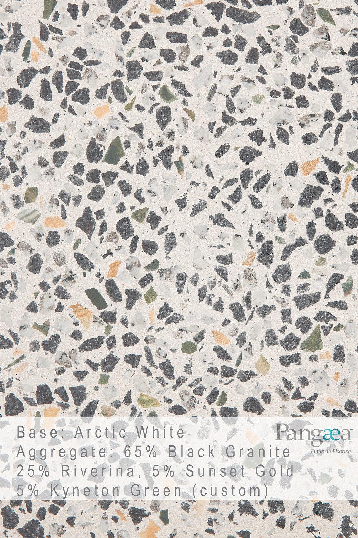 Base -arctic white. aggregate - 65% Black granite, 25% riverina, 5% sunset gold, 5% kyneton green (custom)