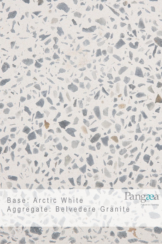 Base -arctic white. aggregate - belvedere granite