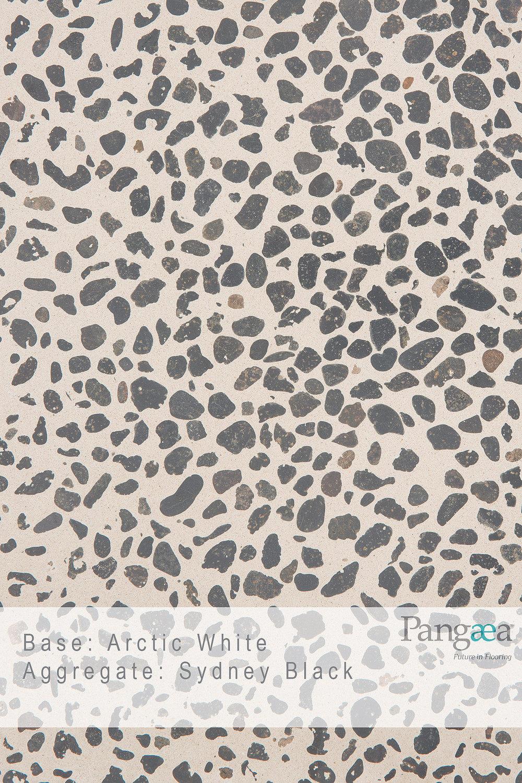 Base -arctic white. aggregate - sydney black