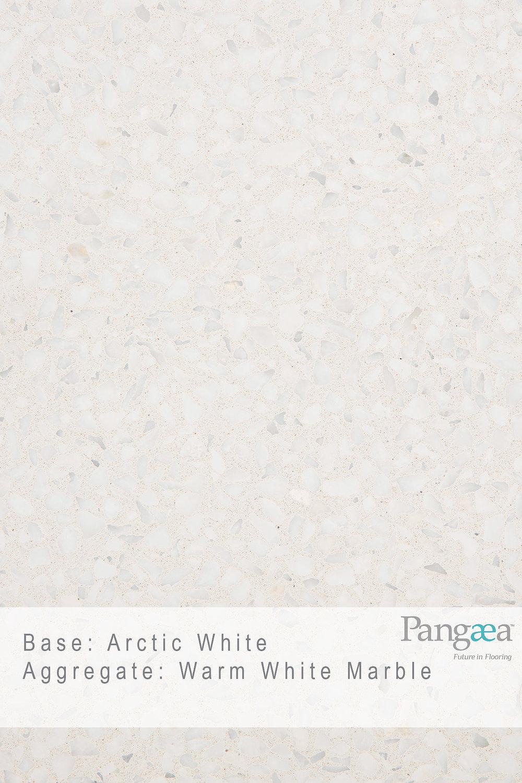 Base -arctic white. aggregate - warm white marble
