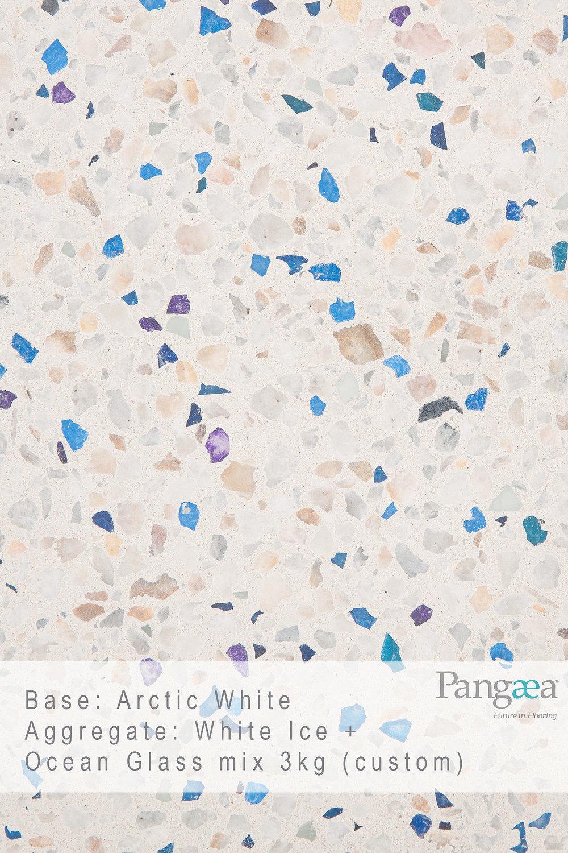 Base -arctic white. aggregate - white ice + ocean glass mix 3km (custom)