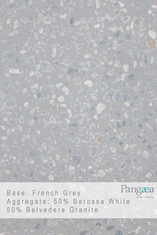 Base - French grey. Aggregate - 50% Barossa White, 50% Belvedere Granite