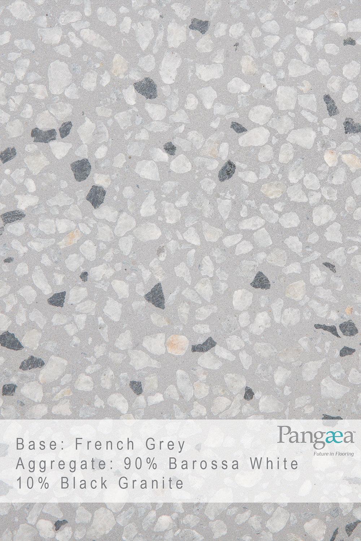 Base - French Grey. Aggregate - 90% Barossa White 10% Black Granite