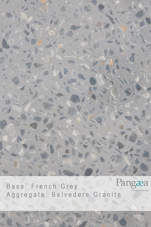 Base - French Grey. Aggregate - Belvedere Granite