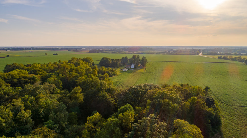 Aerial photo of farm in Galena on Maryland's Eastern Shore