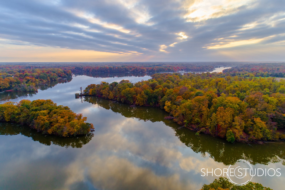 Aerial photo of   fall foliage along the Sassafras River   in Cecil County, MD