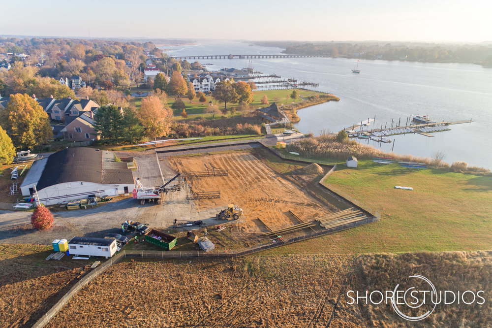 Aerial photo of Hodson Boathouse construction