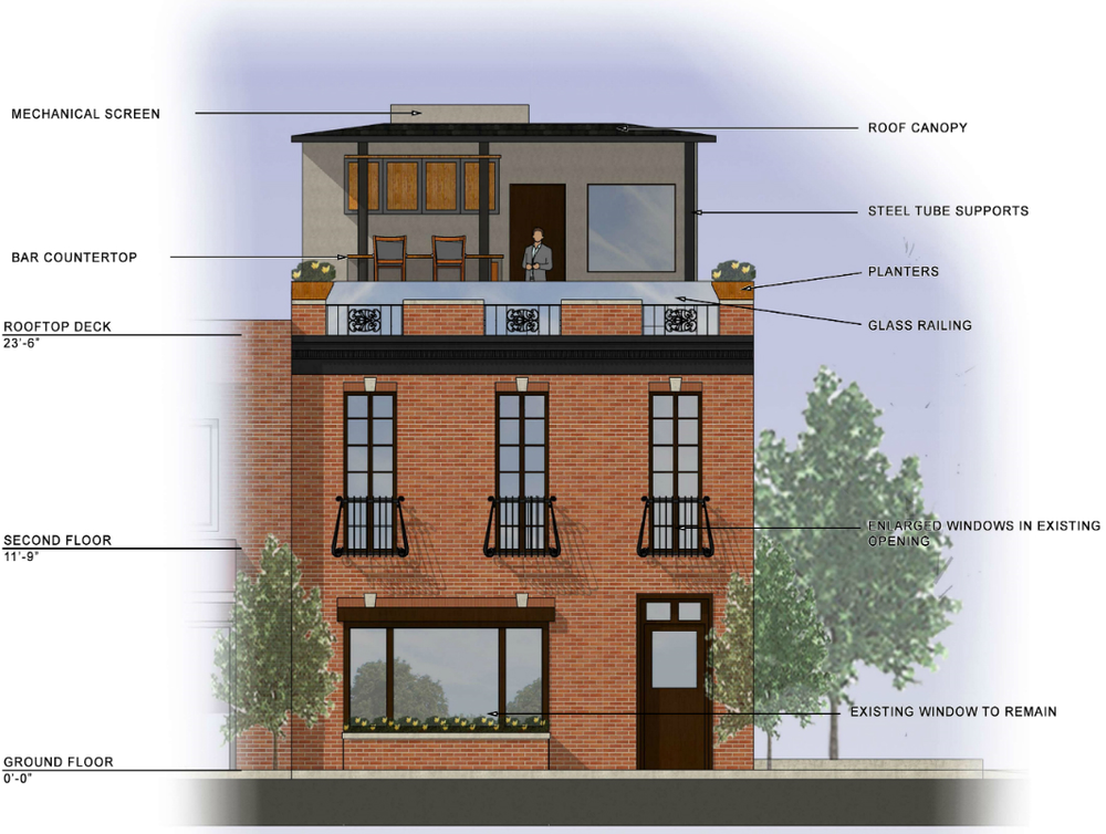 Rendering of mixed use building in Clayton, MO by SP Architects
