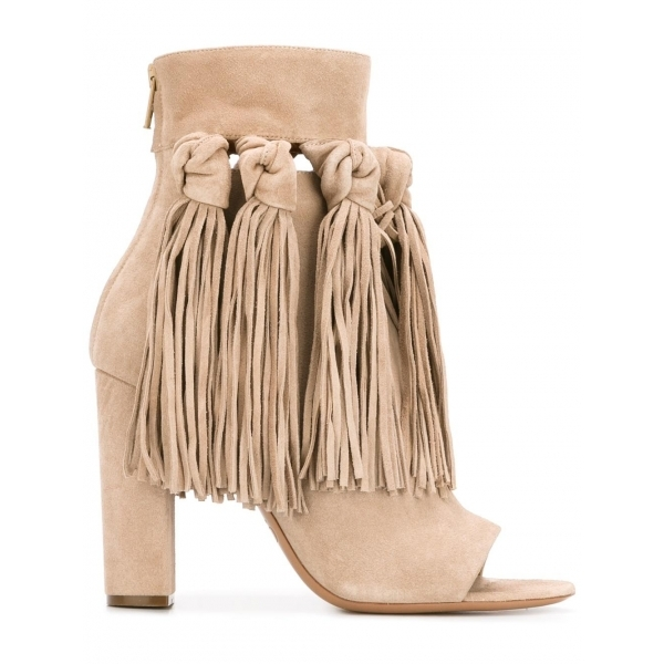 Fringe is still  the rage falling into fall and these hotties are making a statement . - CHOLE - fringed-open- toed booties