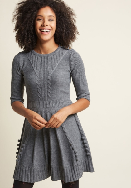 8) Sweater Dress: This is a must,  a solid color like black or beige is great, because you get to add popping accessories. #dressinthewinter