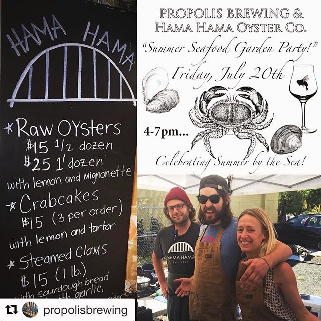 Having a great time over at @propolisbrewing tonight with @hamahamaoysters . Come on down, we have #grilledoysters #rawoysters #crabcakes and #steamedclams . Oh yeah and amazing beer from Propolis! #werehavingagreattime #eatmoreoysters #comeandgetem