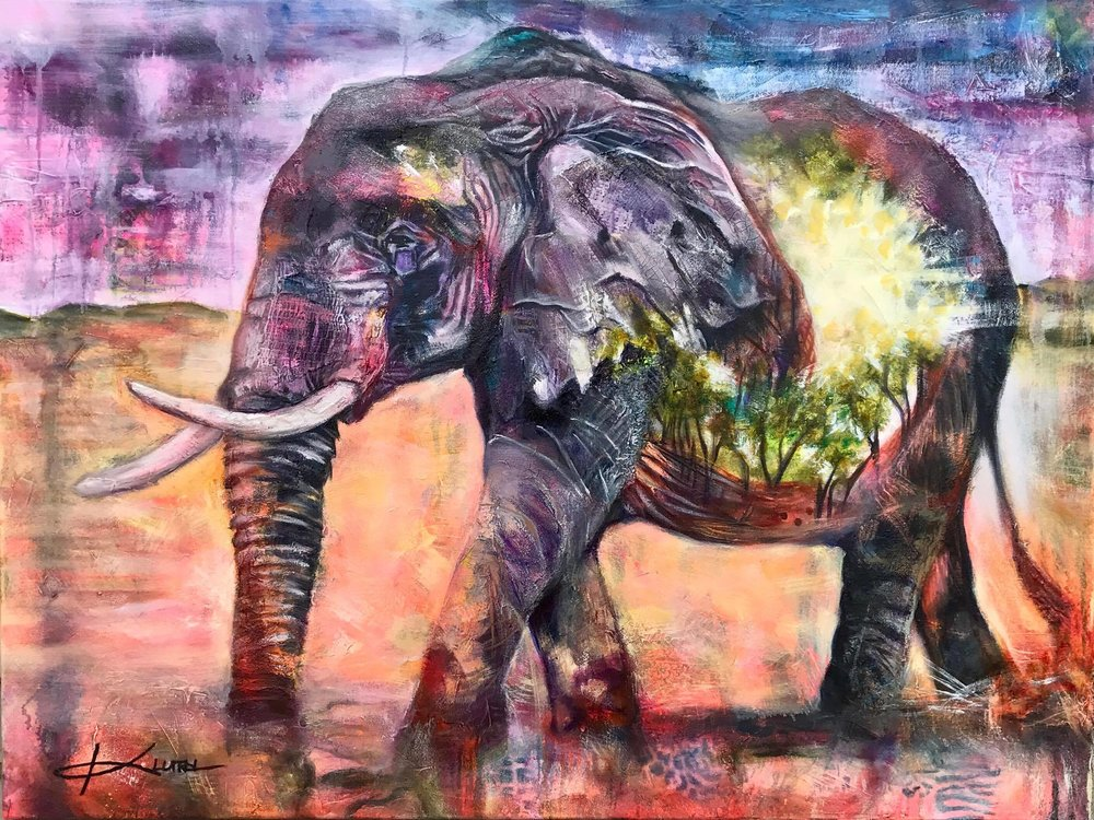 "This Blessed Journey  30x40"" gallery wrapped canvas  mixed media oil"