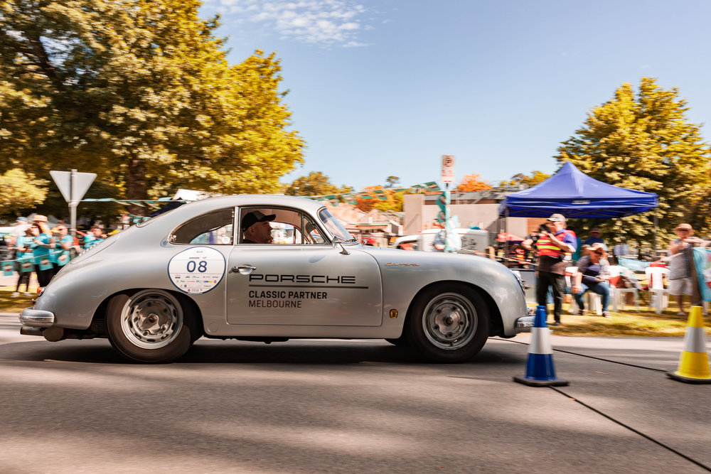 Pictured is the beautiful 1959 Porsche 356 Carrera entering the timing gates at the Yarra Valley 'Fest di via Verde' time trials.