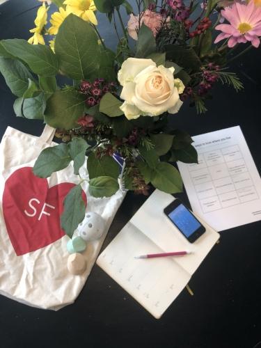 flowers, calendar, whiffle ball, sidewalk chalk, weather app, summer series grid on table