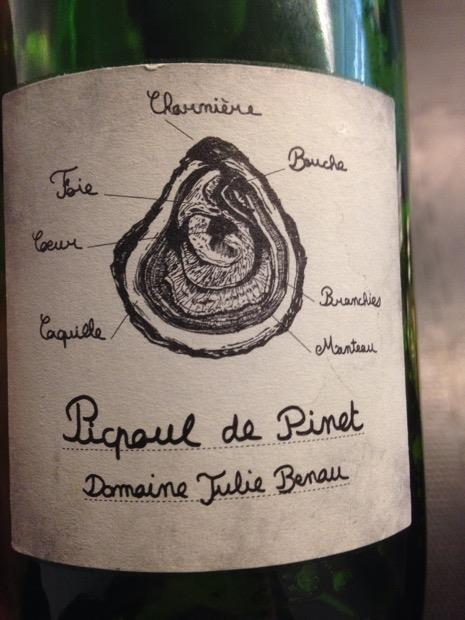"OH MY GOD DRINK THIS WINE- Julie Benau's Picpoul de Pinet is a ""lip stinger"" with crazy acid, orange peel, stone fruit, and a fantastic minerality. Pair with oysters (obviously). Bonus points if you can find my last name..."