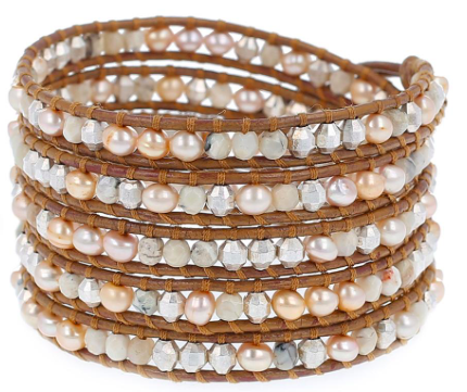 Champagne Pearl Mix Five Wrap Bracelet on Henna Leather