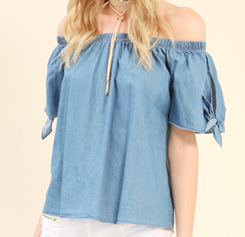 Chambray Self-Tie Off-The-Shoulder Top