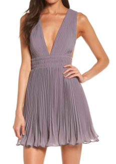 THE BRIELLA FIT AND FLARE PLEAT DRESS