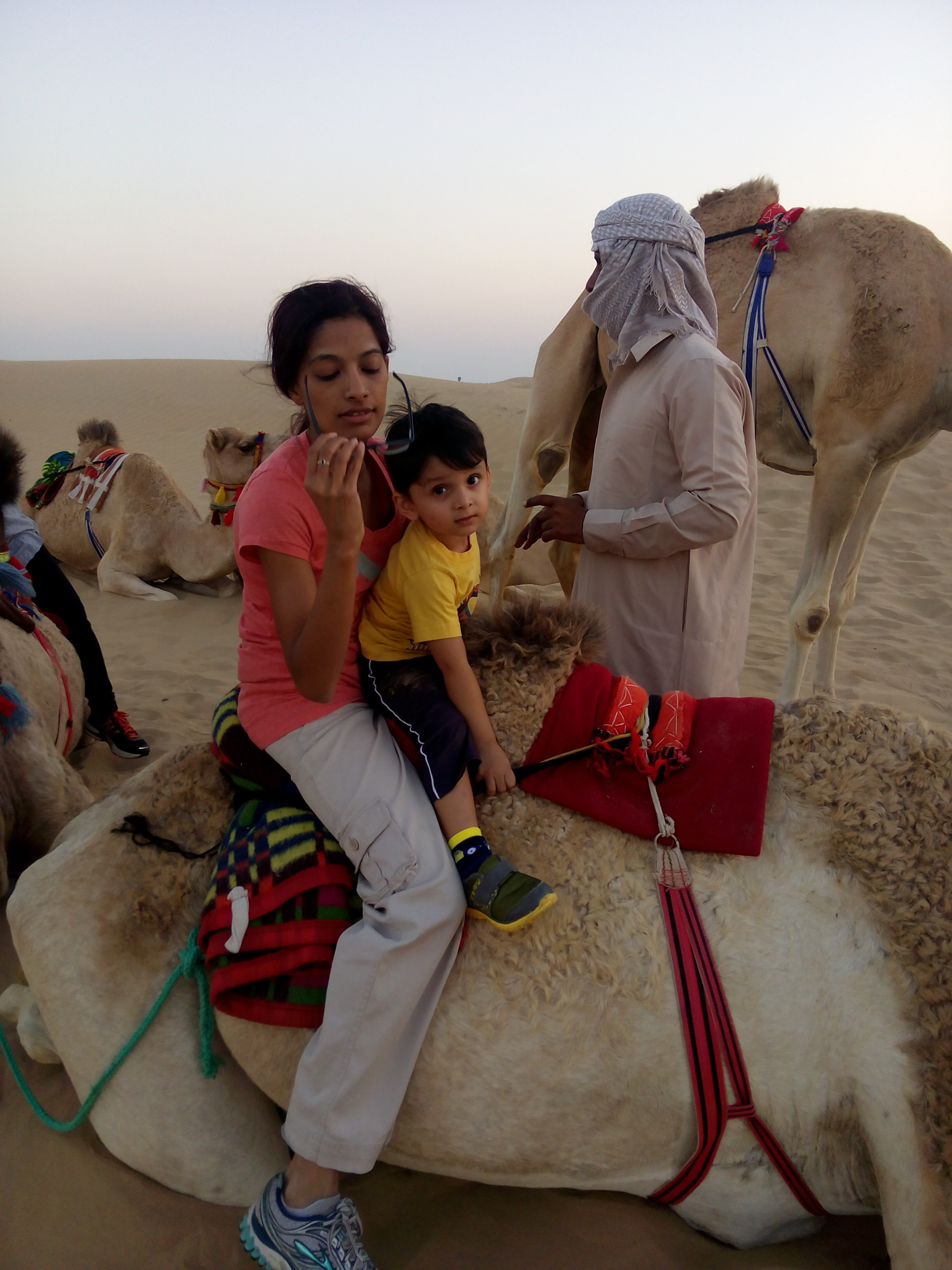 Arva and Yojit before the camel ride