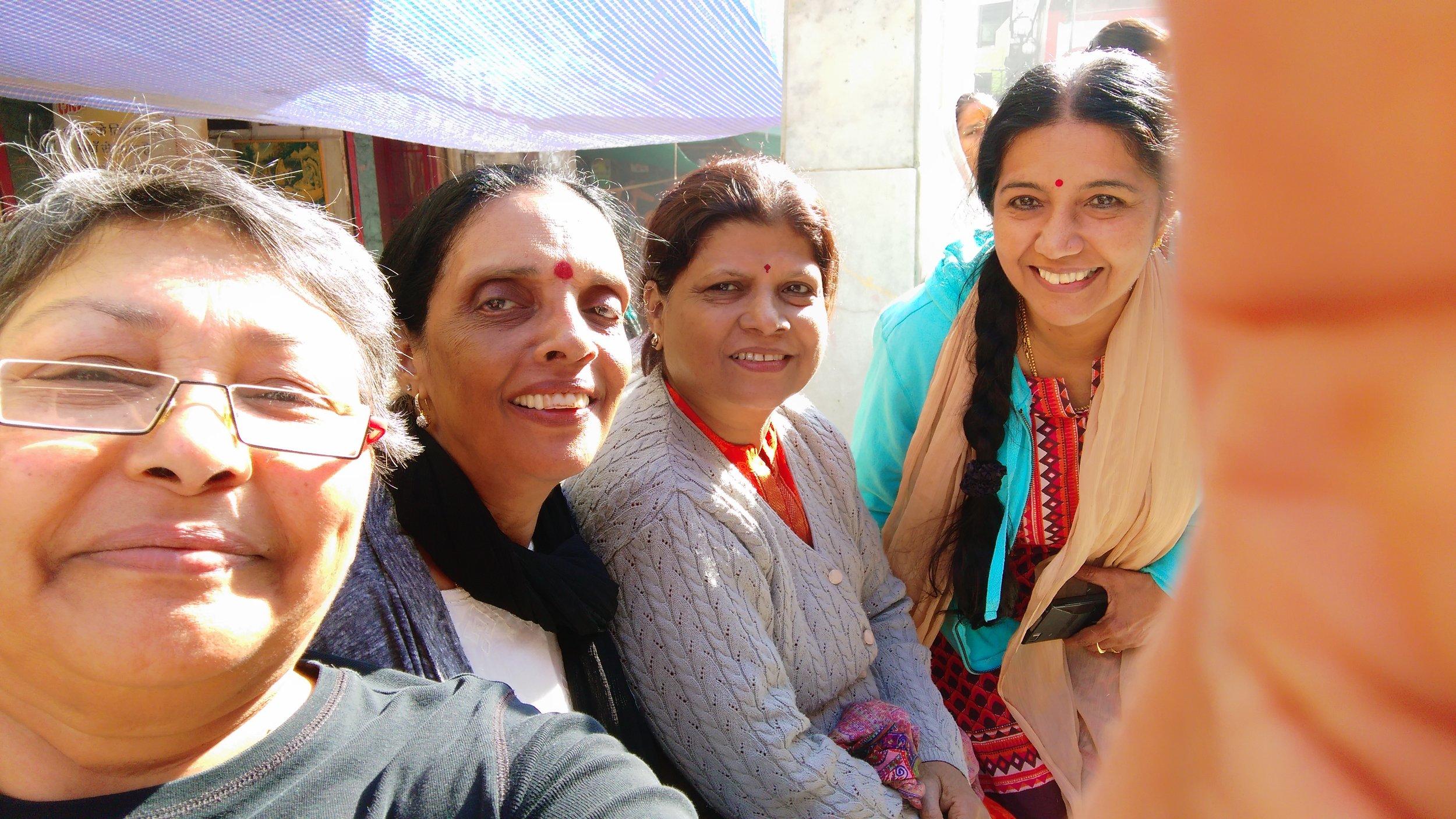 Schoolfriend selfie: Moi, Gouri, Shobha and Raji