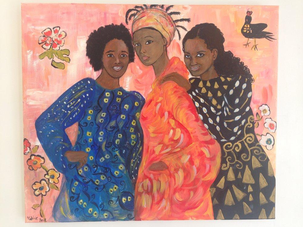 Valérie a aussi réalisé une composition ; elle a choisi de s'inspirer de trois femmes provenant de différents tableaux de Klimt pour représenter ses trois filles. On dit qu'en peinture, il est difficile de reproduire des personnes familières. Mais connaissant la famille, on reconnais les filles. En voyant le tableau, le petit-fils de Valérie s'est également immédiatement exclamé«C'est Maman !».