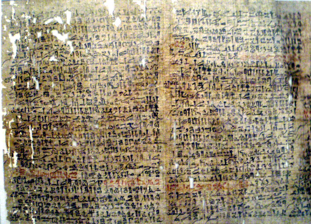 Westcar Papyrus on display in the  Ägyptisches Museum , Berlin