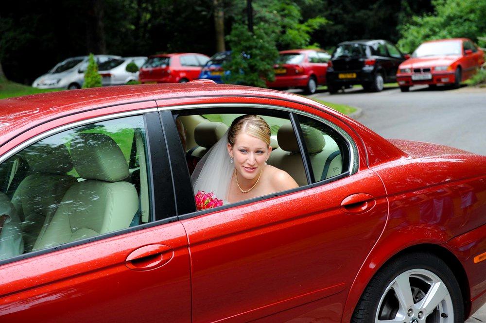 Wedding bride in Jaguar