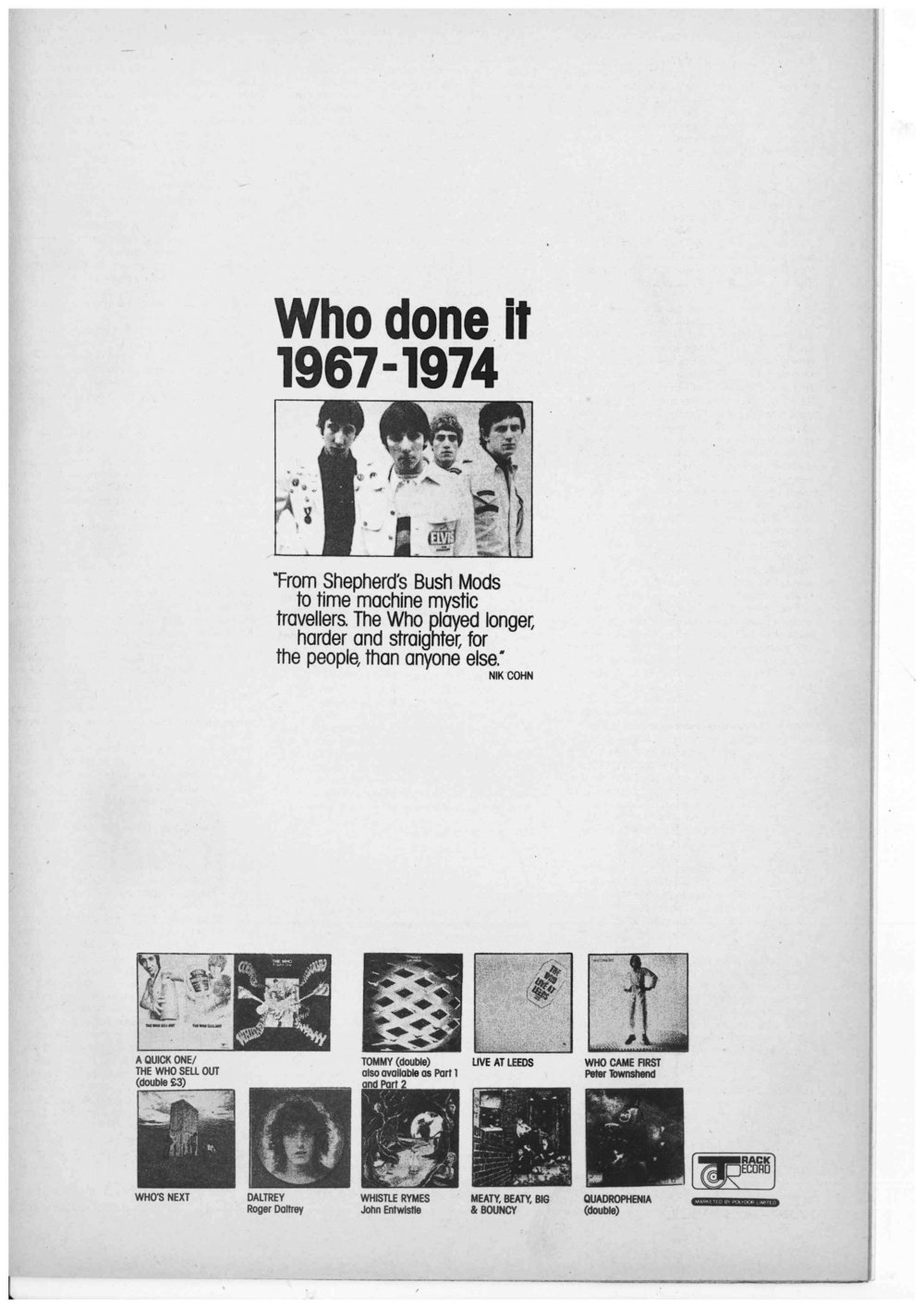 Advertisement in Zigzag #43 (July 1974)