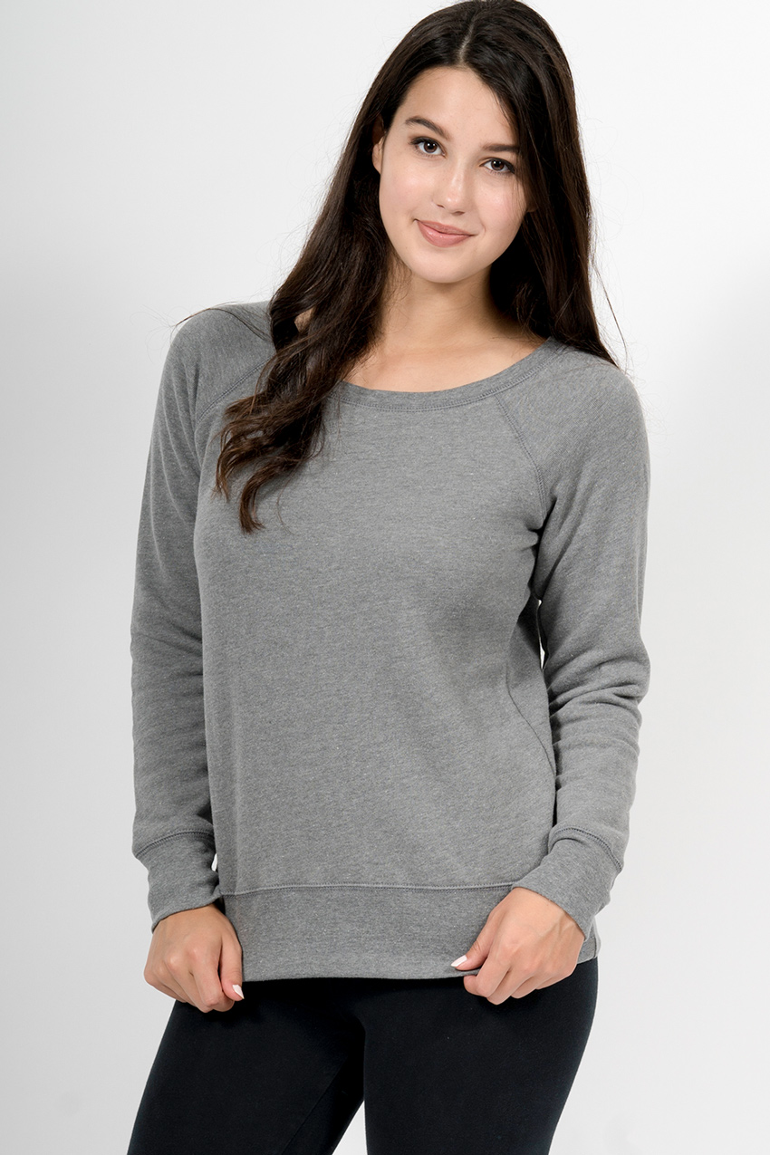 Custom Bella + Canvas 7501 wide neck sweatshirt front
