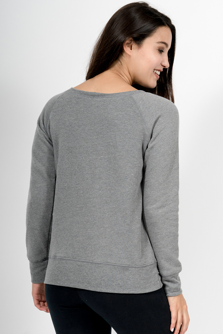 Custom Bella + Canvas 7501 wide neck sweatshirt back