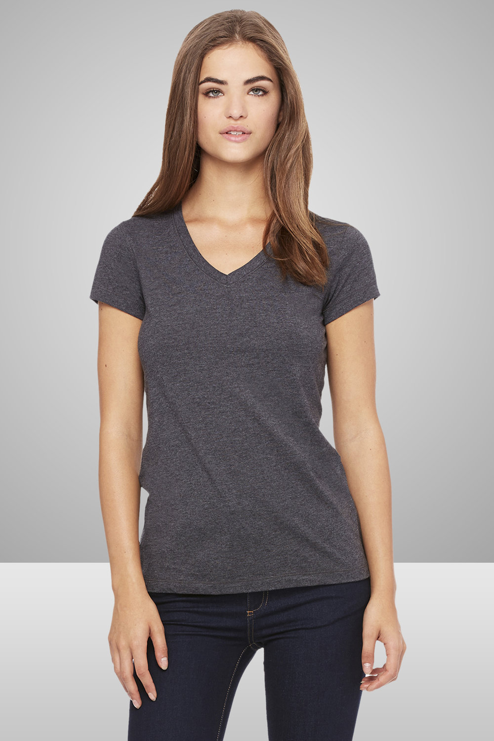 Bella+Canvas Ladies' Jersey Short-Sleeve V-Neck T-Shirt    $11.55 each for 25 items one color front or back