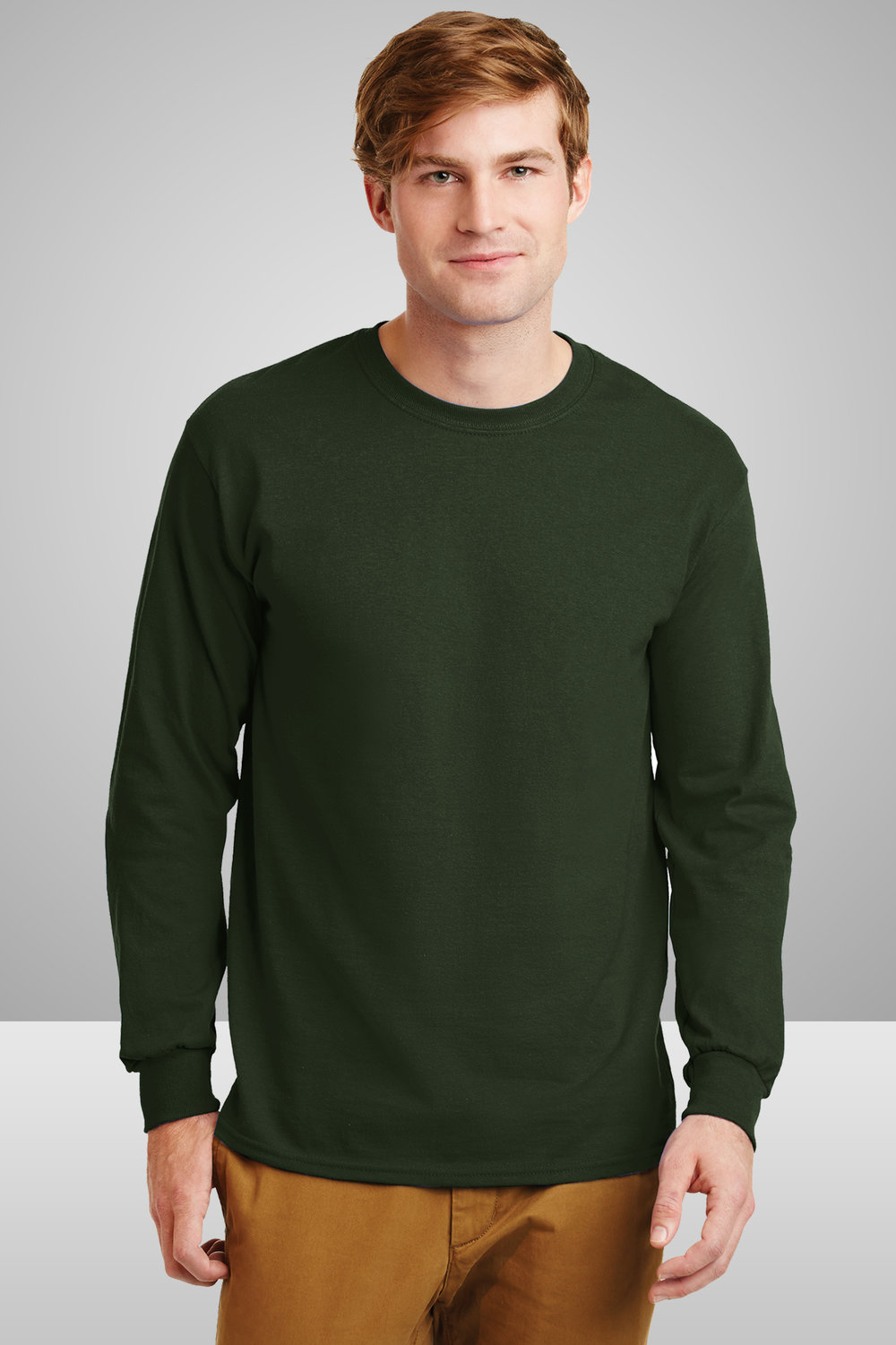 Gildan Long Sleeve Cotton Shirt    $12.09 each for 25 items one color front or back