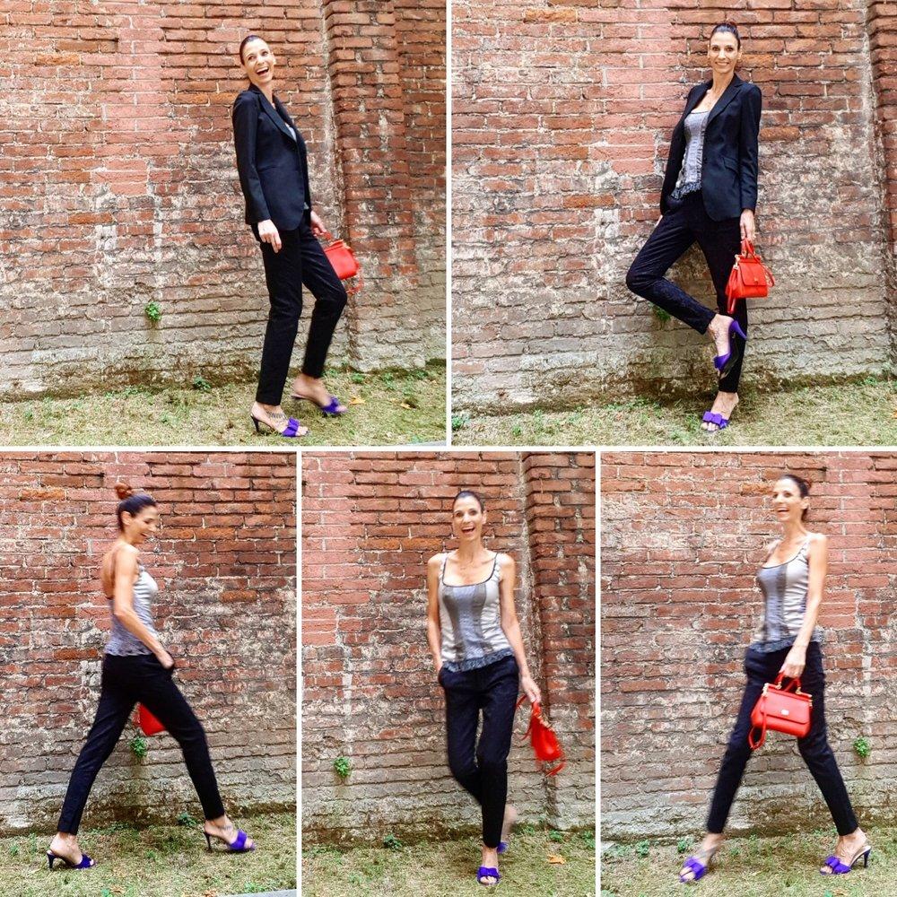 corpino: Banlieue - pantaloni: Zara - sabot: Lorbac - borsa: Dolce &Gabbana - blazer: Virna Drò