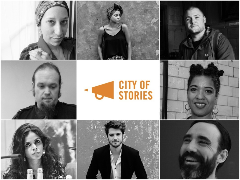 City of Stories writer-facilitators: Bidisha, Rachel Long, Gary Budden, Tom Mallender, Olumide Popoola, Meena Kandasamy, Lewis Buxton and Jarred McGinnis.