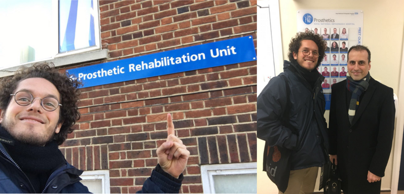 Lucas at the  Royal National Orthopaedic Hospital  in Stanmore with  Dr Imad Sedki , a consultant in rehabilitation medicine.