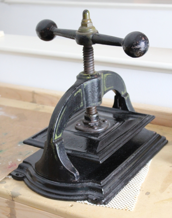 My antique book press, which I use for some block printing.