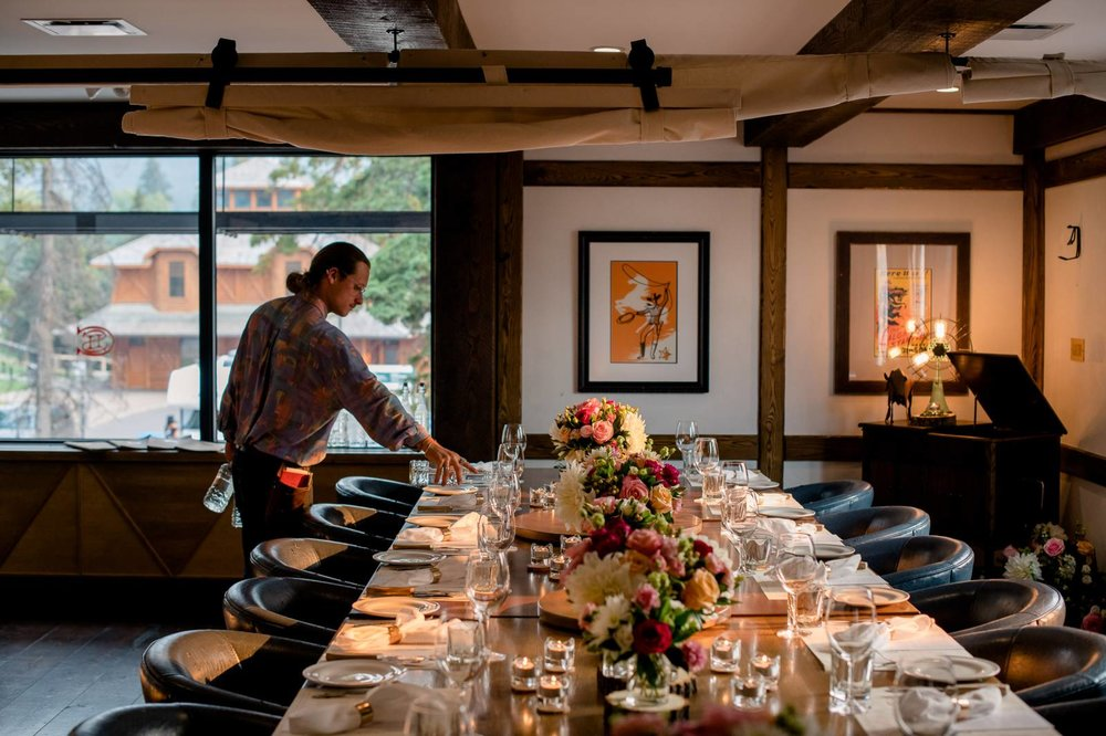 Private Dining Room - 8-12 PEOPLE OR UP TO 22 PEOPLERiver & mountain view windows, our hidden gem can be sectioned off with privacy curtains to seat 8-12 guests privately or the whole room can be booked exclusively to seat as many as 22 guests.