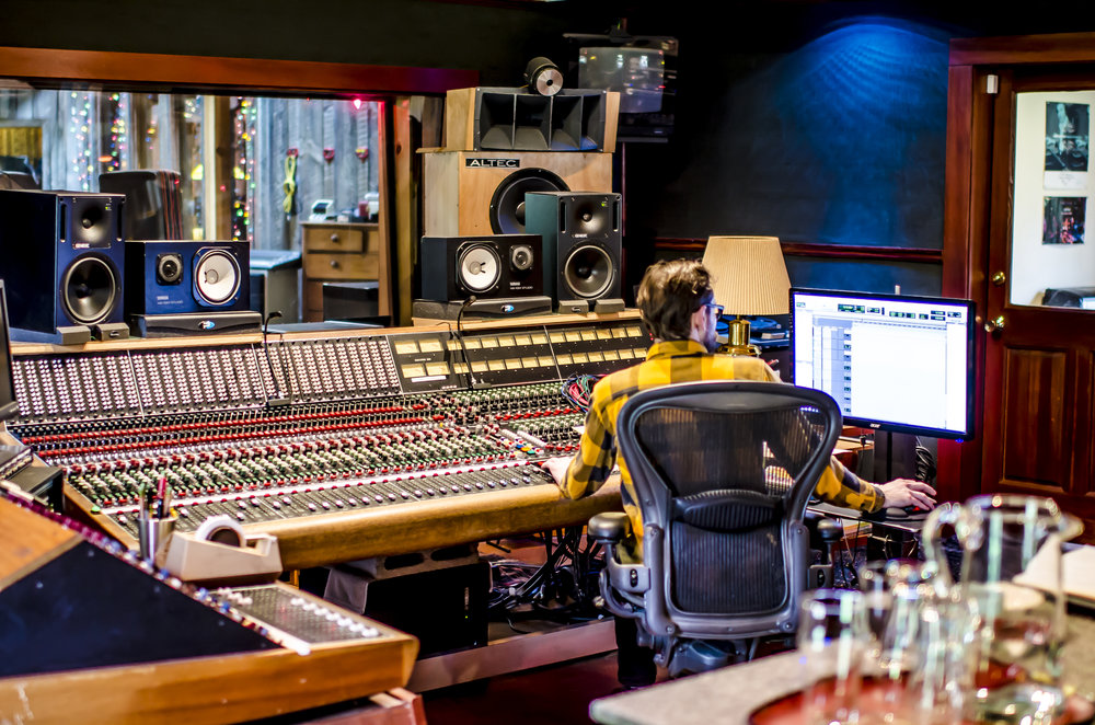 The control room at Bear Creek Studio during our Songwriting & Recording Studio Project.