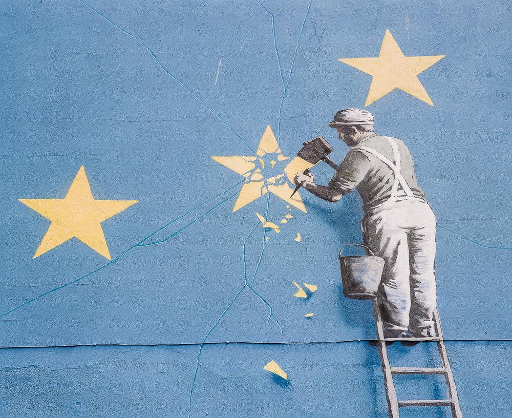 Bansky's Brexit Mural Close-up