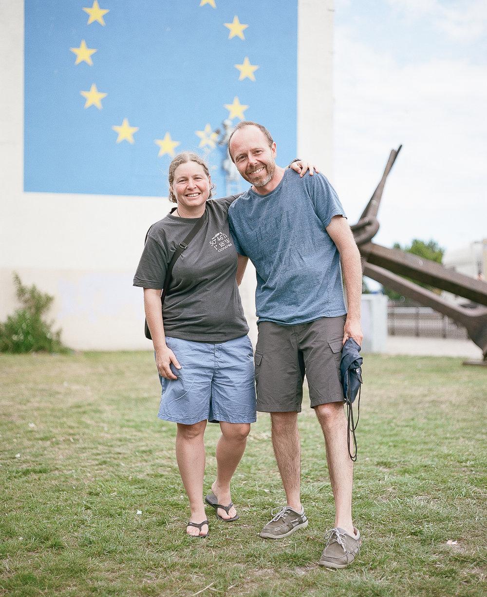 Visitors to Banksy' Brexit Mural in Dover