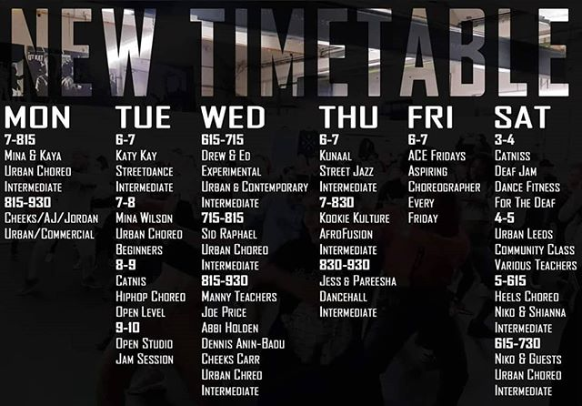 🚨New timetable effective from tomorrow!🚨. . CHANGES: Mondays We now only have two weekly classes here 👉 7-815 Urban Choreography. Intermediate. Mina & Kaya alternating every week 👉815-930 Urban or Commercial choreo. Announced accordingly. Cheeks, AJ & Jordan Ward alternating every week Tuesdays 👉8-9 Hip Hop choreography with CatNis. Open level. . NEW CLASSES: Tuesdays 👉6-7 Streetdance with Katy Kay. Intermediate. Thursdays 👉6-7 Street Jazz with Kunaal. Intermediate. . Spread the word!