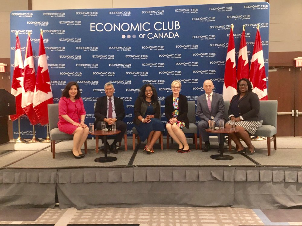 left to right: julia shin doi, raj anand, bindu cudjoe, godyne sibay, kevin b. coon, and charlene theodore, june 19, 2017.