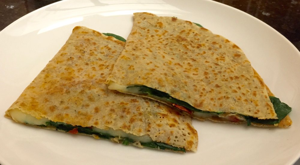 Crepes with Spinach, Mozzarella, Pesto, and Sun-Dried Tomatoes