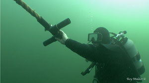 ..in action - Divers can grasp the handles individually or as a team for pushing through extra thick growth.