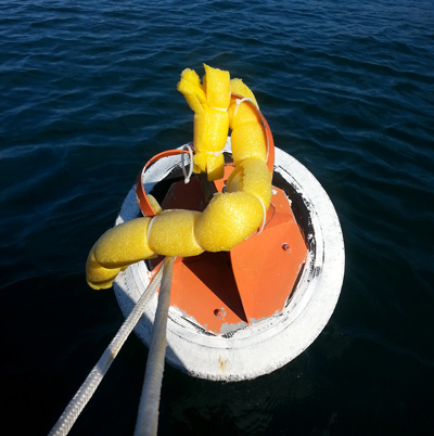 The South Bowyer UCBC Mooring Buoy has been damaged repeatedly from improper use by a large vessel. -
