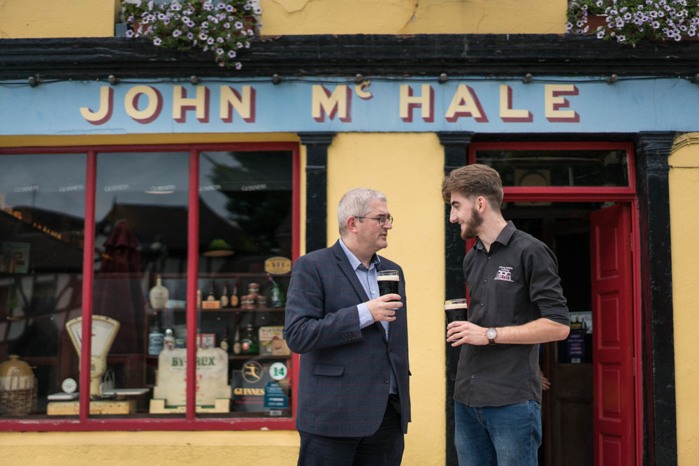 Mick Baynes and Conor Geraghty enjoying a meejum at Johnny McHale's. Picture: Keith Heneghan/Phocus.ie